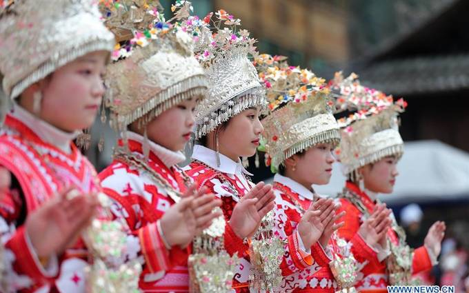 Traditional folk fair held in China's Guizhou to celebrate Spring Festival